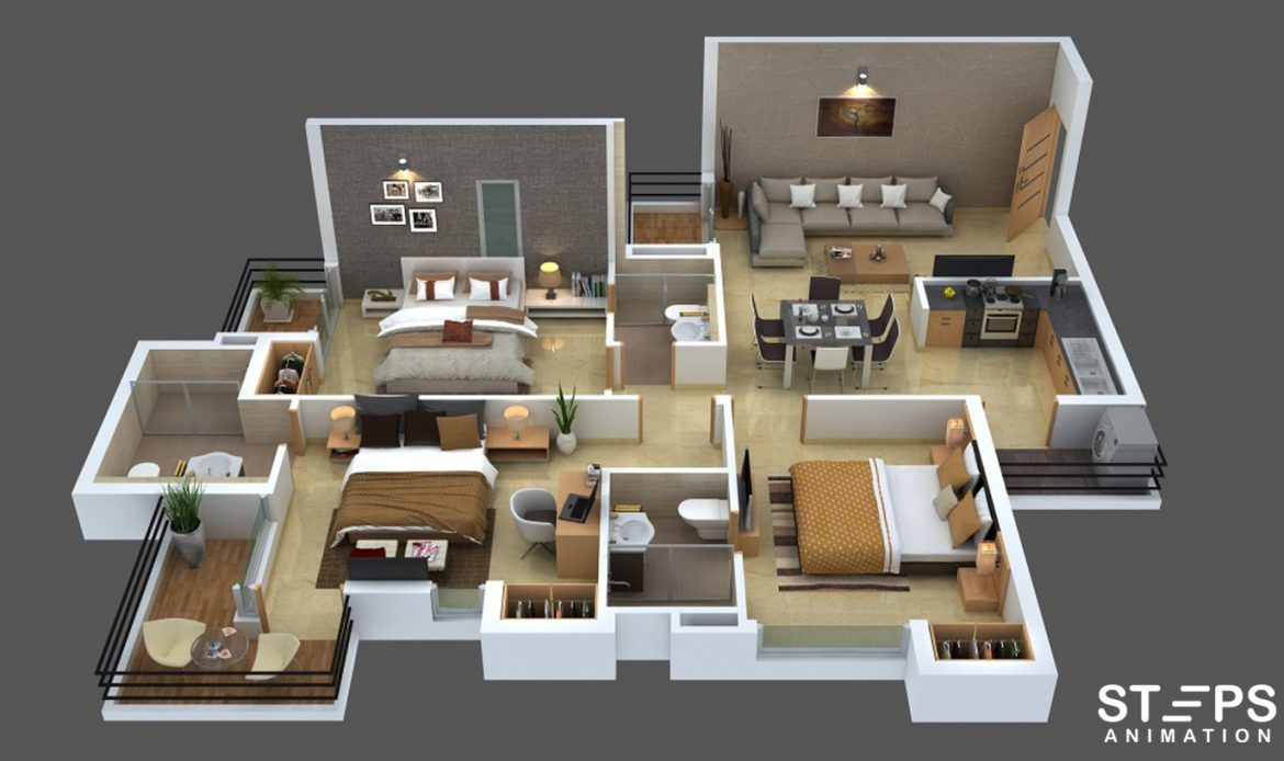 3D Interactive Floor Plans StepsAnimation